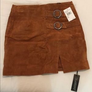BLANK NYC Brown suede skirt size 25 NWT
